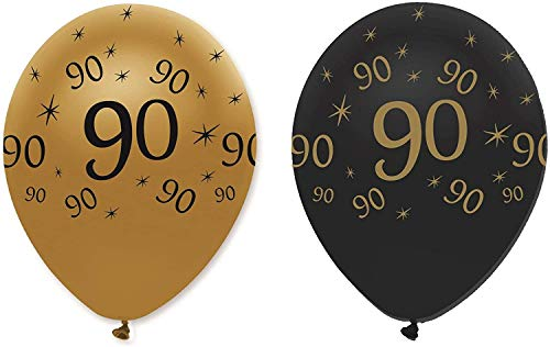 90th Black & Gold Balloons 6pk from Creative