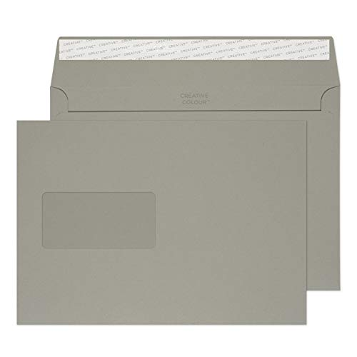 Blake Creative Colour C5 162 x 229 mm 120 gsm Wallet Peel & Seal Window Envelopes (325W) Storm Grey - Pack of 500 from Blake