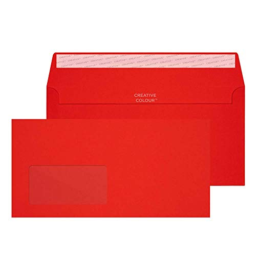 Blake Creative Colour DL+ 114 x 229 mm 120 gsm Wallet Peel & Seal Window Envelopes (206W) Pillar Box Red - Pack of 500 from Blake