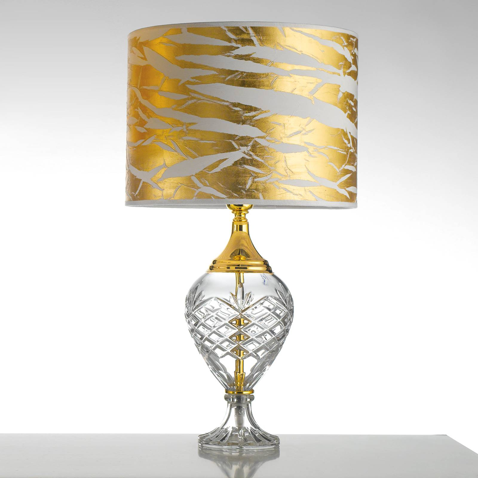 Gold-coloured Belle Epoque table lamp w glass base from Cremasco