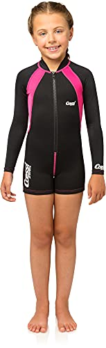 Cressi Kid's Shorty Long Sleeves Thermal Wetsuit, Black/Pink, Medium from Cressi