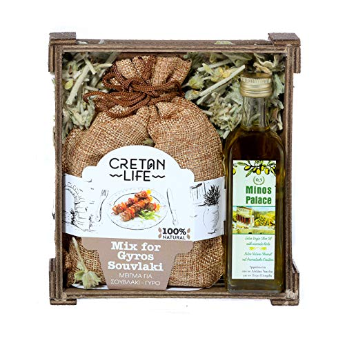 Wooden Gift Set Mix for Gyros Souvlaki (Linen) & Olive Oil 60ml from Cretanlife