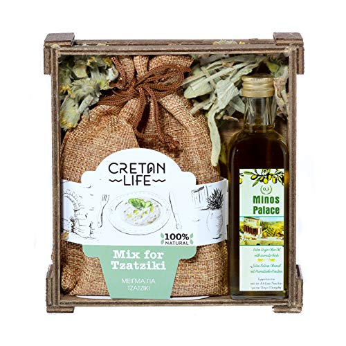 Wooden Gift Set Mix for Tzatziki (Linen) & Olive Oil 60ml from Cretanlife