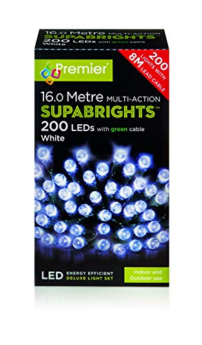 Premier 200 Multi Action Supabright Bright White LED Lights with Green Cable from Crillys