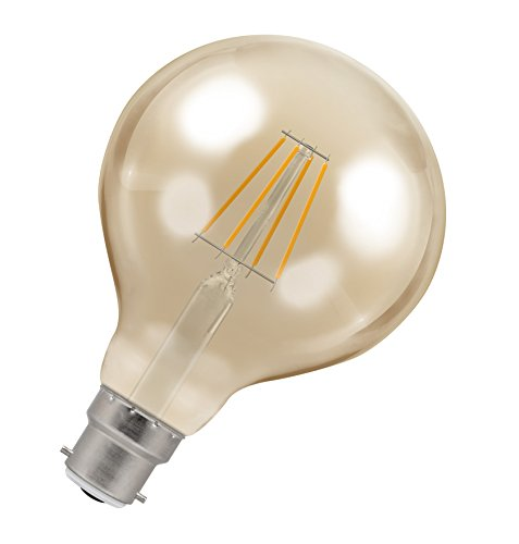 Crompton Antique Decorative LED 95mm Globe Filament Bulb, B22d, 5W, Dimmable, Amber Tinted Glass from Crompton