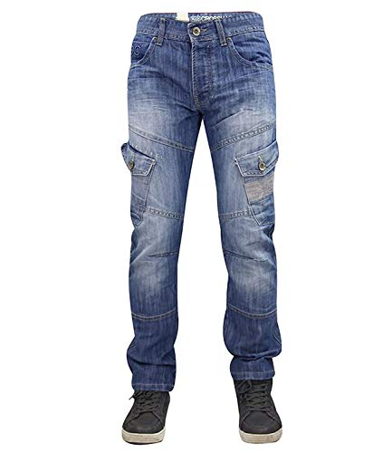 Crosshatch Mens Designer Denim Lightwash Button Fly Regular Fit Cargo Jeans (46W x 32L, Lightwash) from Crosshatch