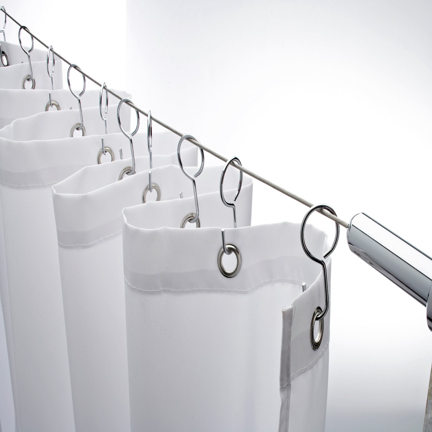 Tier basket shower caddy mild steel rust free stick n lock bathroom - Croydex Stainless Steel Shower Curtain Tension Cable From Croydex