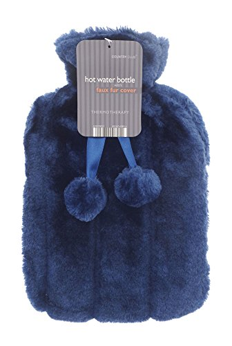 Luxury Hot Water Bottle with Best Plush Faux Fur Cover (Dark Blue) from Cryopaq