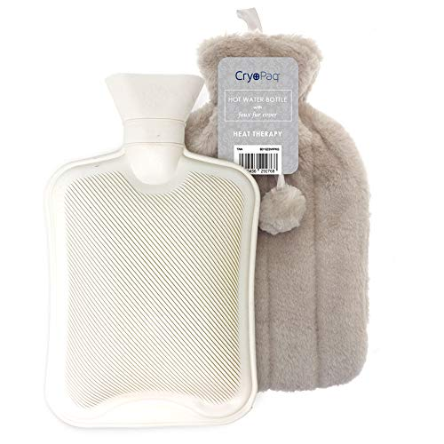 Luxury Hot Water Bottle with Best Plush Faux Fur Cover 2L 2 Litre Liter (Mink/Tan) from Cryopaq