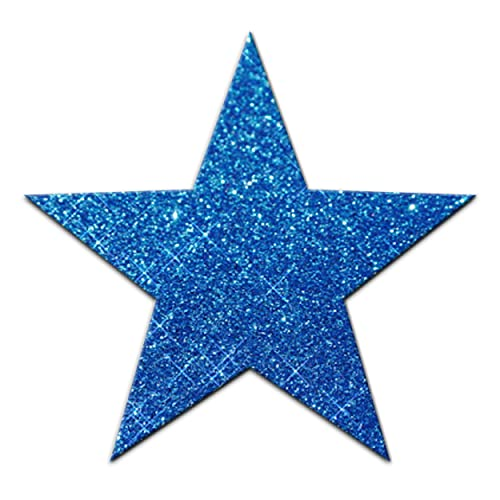 Blue Fabric Glitter 102mm 4 Inch Star Iron-On from CrystalsRus