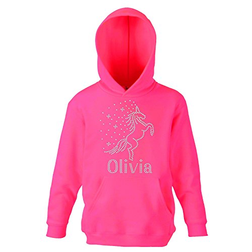 Fuschia CLEAR 7-8 Years Girl's REARING UNICORN Personalised Hoodie Crystal Dance Horse Jumper Leotard Hoody(K) By Varsany from CrystalsRus