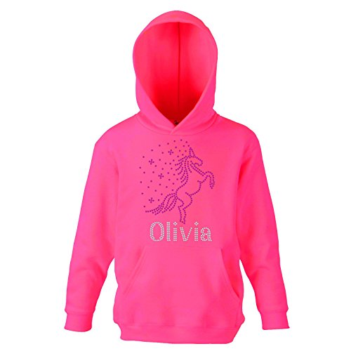 Fuschia Pink 9-11 Years Girl's REARING UNICORN Personalised Hoodie Crystal Dance Horse Jumper Leotard Hoody(K) By Varsany from CrystalsRus