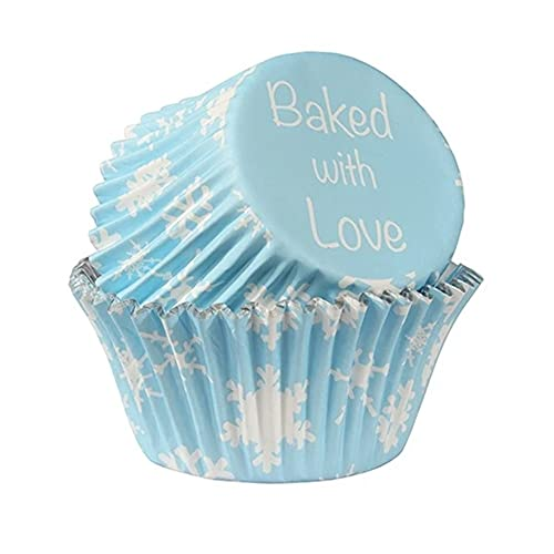 Baked with Love Foil Lined Baking Cases - Snowflakes - Pack of 25 from Culpitt