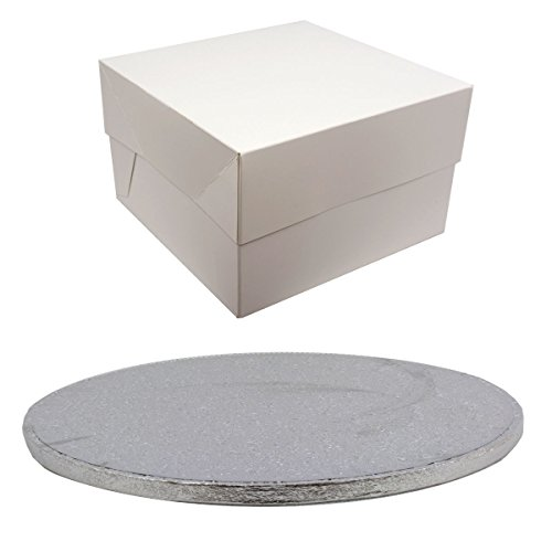 Silver Drum Round Cake Board and White Transporting Box (1 Single, 12 Inch) from Culpitt