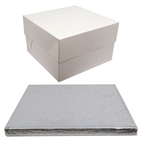 Silver Drum Square Cake Board and White Transporting Box. (8 Inch) from Culpitt
