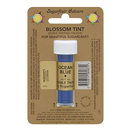 Sugarcraft Sugarflair Colour Blossom Tint Powder Dust Ocean Blue 7ml from Culpitt