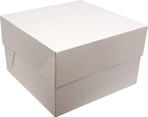 "White Cake Box with lid for Transporting Cakes (15"" inch) from Culpitt"