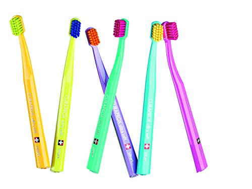 SMART Childrens & adults with small mouths, Ultra soft toothbrush, 6 QUALITY brushes, better cleaning, softer feeling in sporty colours for boys / Him. Curaprox 7600 Ultra Soft SMART. from Curaprox