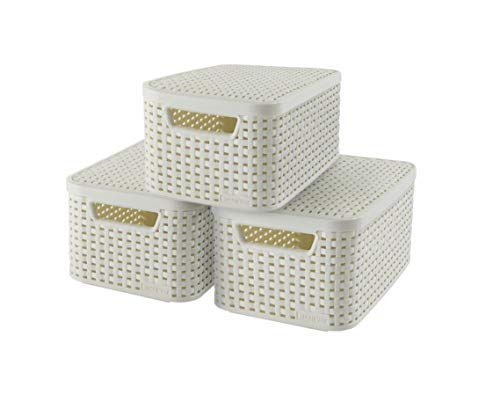Curver | Set of 3 Style S Storage Boxes + Lids, White, Plastic from Curver
