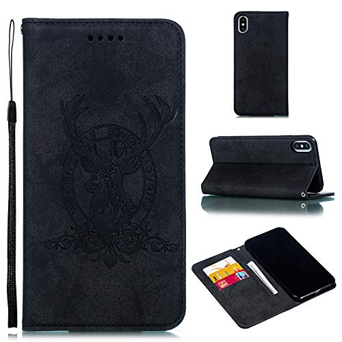 Custodia® Denim TPU PC Flip Wallet Case with Stand Function and Card Slot for Apple iPhone XS Max (Black) from Custodia