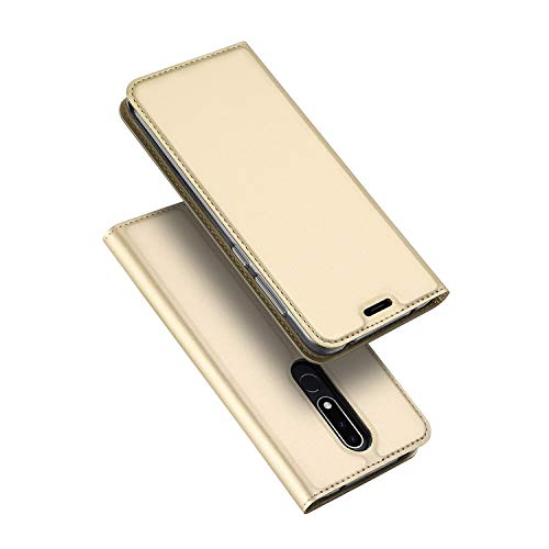 Custodia® Ultra Thin PU TPU Flip Case with Card Slot and Stand Function for Nokia 3.1 Plus(Gold) from Custodia