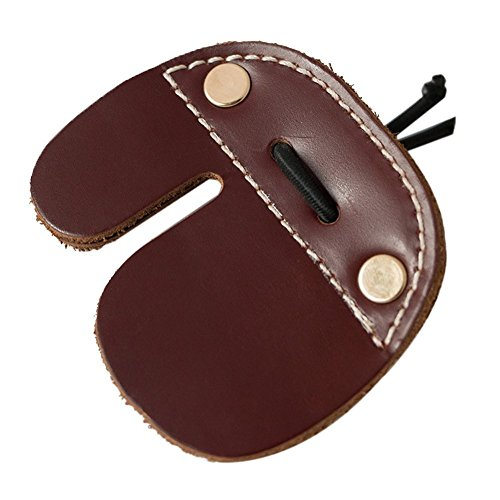 CyberDyer Cow Leather Archery Finger Tab For Recurve Bows Hunting Finger Protector Brown from CyberDyer