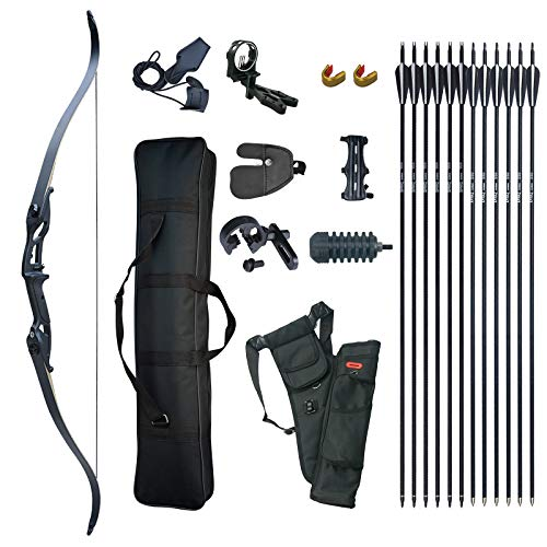 D&Q Takedown Recurve Bow and Arrow Set Adult Kit Archery Hunting Target Practice Competition Survival Longbow Package 30 35 40 45 50 lbs Right Handed with Bow Case Stringer Arrow Quiver (50 pounds) from D&Q