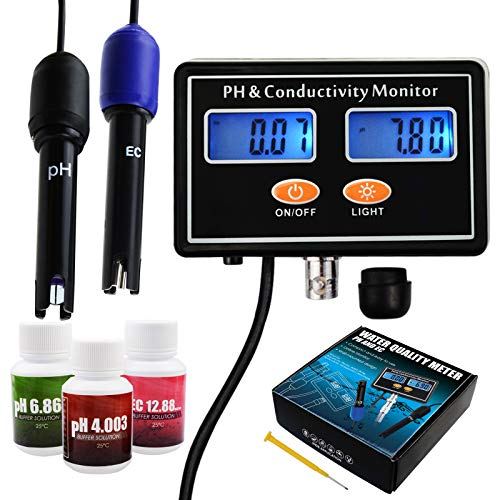 pH/EC Conductivity Meter with ATC Water Quality Tester 0.0-14.0pH / 0~19.99ms/cm Aquarium, Hydroponics Tool from DANOPLUS