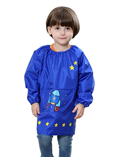 Boys Girls Cartoon Painting Cover Coat Birthday Gift Portable Waterproof Painting Class Apron Long-Sleeved Smock Bibs Age 5-7 Blue L from DAWNTUNG