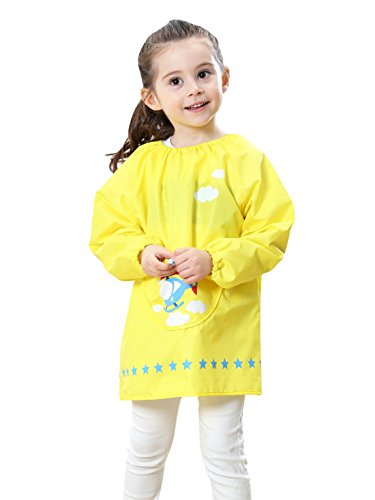 Children School Painting Smock Apron with Pocket Long-Sleeved Pattern Smock Bibs for Eatting Painting Cooking 5-7 Years Kids Yellow L from DAWNTUNG