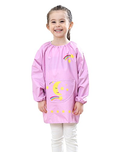 Toddler Baby Cartoon Smock Bibs Long-Sleeved Painting Apron Kids Waterproof for Eating Painting Cooking 5-7 Years Old Pink L from DAWNTUNG