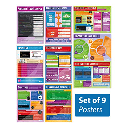 Computer Programming Posters - Set of 9 | Computer Science Posters | Gloss Paper measuring 850mm x 594mm (A1) | STEM Posters for the Classroom | Education Charts by Daydream Education from Daydream Education