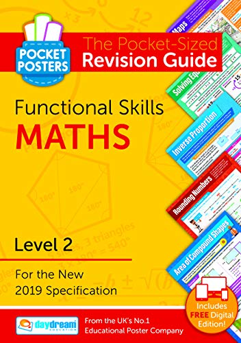 Functional Skills Maths Level 2 Pocket Poster | The Pocket-Sized Maths Functional Skills Revision Guide | Comprehensive Functional Skills Level 2 Maths Study Guide, by Daydream Education from DAYDREAM EDUCATION
