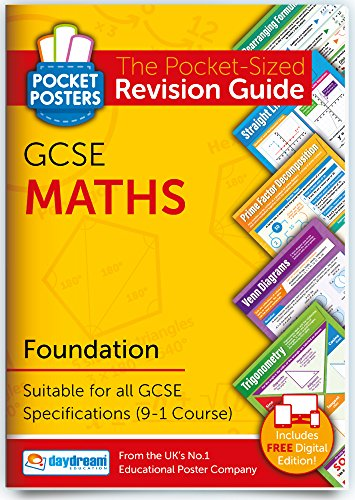 GCSE Maths Foundation Pocket Poster Revision Guide | 9-1 Specification | Includes FREE digital edition! from DAYDREAM EDUCATION
