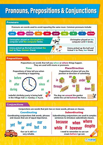 Pronouns, Prepositions & Conjunctions | English Posters | Laminated Gloss Paper measuring 850mm x 594mm (A1) | Language Classroom Posters | Education Charts by Daydream Education from DAYDREAM EDUCATION