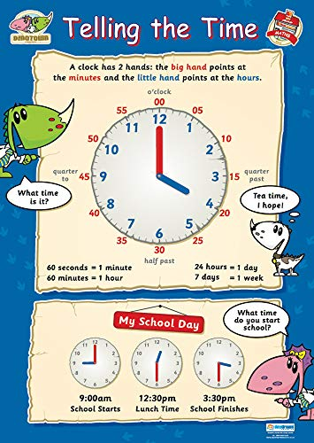 Telling the Time Educational Poster | Gloss C2 Early Years & Primary Poster Measuring 485 mm × 648 mm | Children's Learning Wall Chart for the Home | Bright Wall Display Poster to Make Learning Fun from DAYDREAM EDUCATION