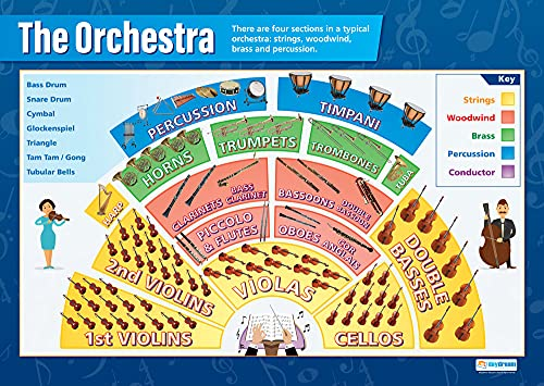 The Orchestra | Music Posters | Gloss Paper measuring 850mm x 594mm (A1) | Music Charts for the Classroom | Education Charts by Daydream Education from Daydream Education