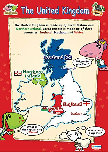 The United Kingdom Educational Poster | Gloss C2 Early Years & Primary Poster Measuring 485 mm × 648 mm | Children's Learning Wall Chart for the Home | Bright Wall Display Poster to Make Learning Fun from DAYDREAM EDUCATION