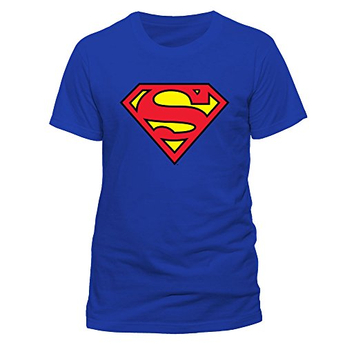 DC Men Superman Logo Crew Neck Short Sleeve T-Shirt, Blue, Large from DC