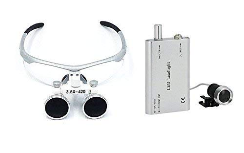 Bestdental 3.5x 420mm Surgical Binocular Loupes and Head Light Lamp from DENEST