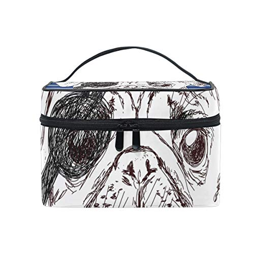 DEZIRO Illustration Of Pirate Pug Dog cute makeup bag brush bag Pouch from DEZIRO