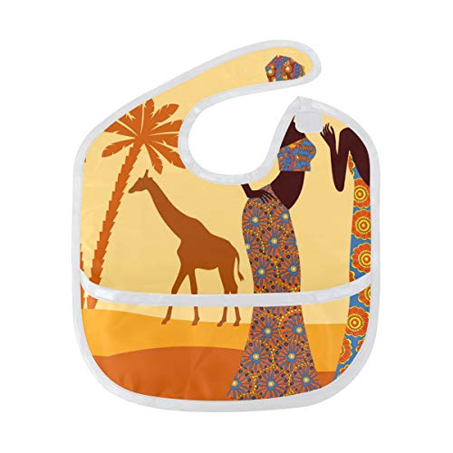 DEZIRO Infant Baby Drooler Bib African Women Tropical Giraffe Elephant Waterproof Baby Bib Washable Stain and Odor Resistant from DEZIRO