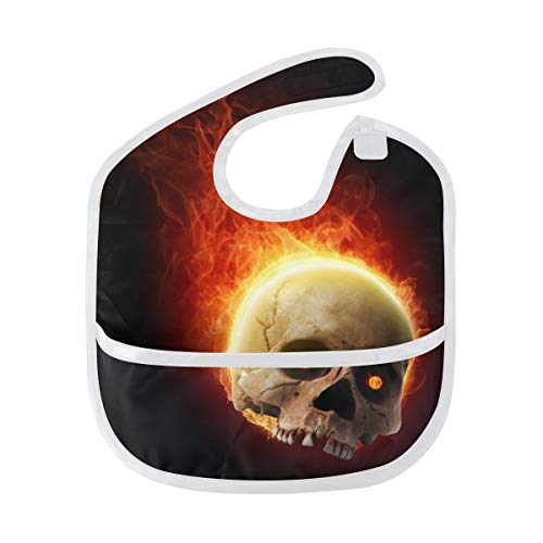 DEZIRO Infant Baby Drooler Bib Awesome Burning Skull Waterproof Baby Bib Washable Stain and Odor Resistant from DEZIRO
