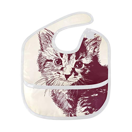 DEZIRO Infant Baby Drooler Bib Burgundy Hair Cat Pattern Waterproof Baby Bib Washable Stain and Odor Resistant from DEZIRO