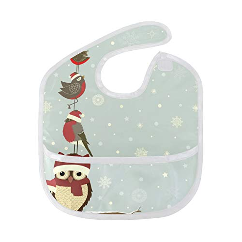 DEZIRO Infant Baby Drooler Bib Christmas Branch with Owls and Bird Waterproof Baby Bib Washable Stain and Odor Resistant from DEZIRO