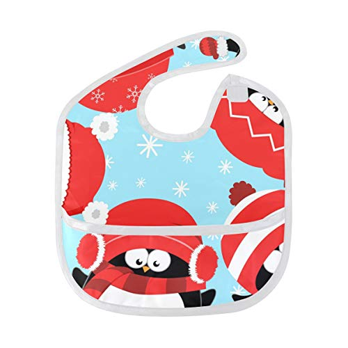 DEZIRO Infant Baby Drooler Bib Penguins Celebrating Christmas Waterproof Baby Bib Washable Stain and Odor Resistant from DEZIRO