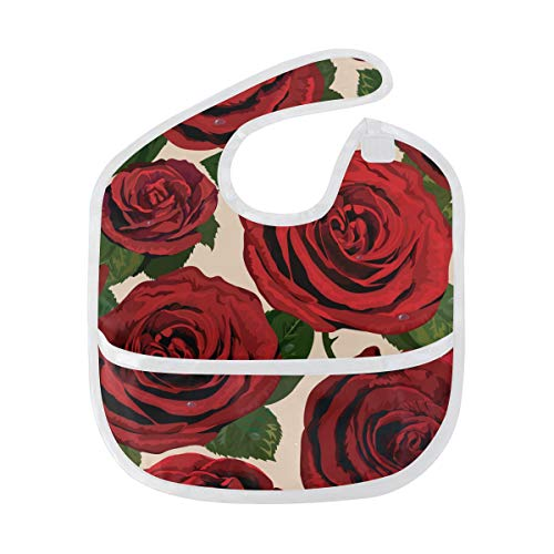DEZIRO Infant Baby Drooler Bib Red Roses Waterproof Baby Bib Washable Stain and Odor Resistant from DEZIRO