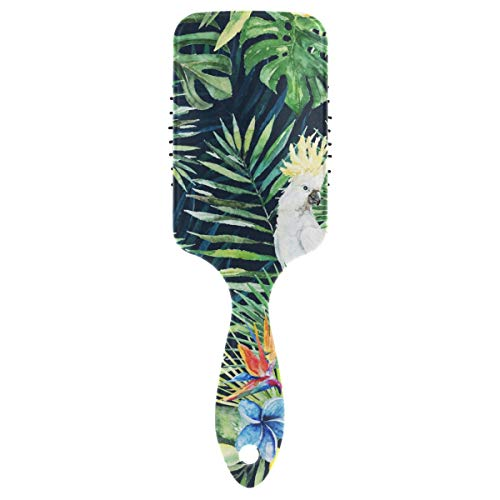 DEZIRO Paddle Cushion Green Palm Leaves White Cockatoo Bird Hairbrush Good for Thick Long Short Dry Damaged Hair Static-free from DEZIRO