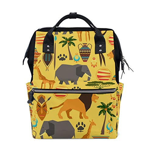 DEZIRO canvas African Animals School pack Backpacks Travel bag from DEZIRO