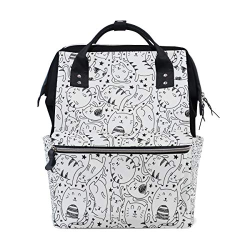 DEZIRO canvas Simple Cat Sketching School pack Backpacks Travel bag from DEZIRO
